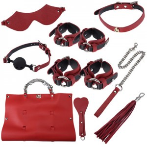 Portable Leather Bondage Kit With Travel Bag For Adult