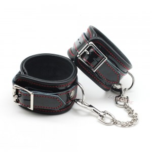 SM Adjustable Black Genuine leather Bondage  Handcuffs With Metal Chain